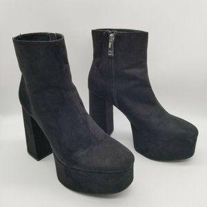 ZaraBlack Suede Block Heel Platform Boots